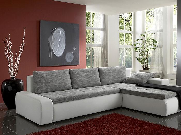 Ecksofa Alisa, 300x210cm, Webstoff weiß-schwarz, Kunstleder weiß ...